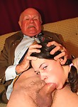 Grandpa chocking girl on his dick