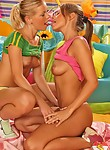 Two cute lesbian girls getting naughty